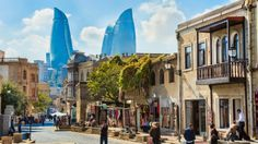 The inner city of Baku with the Flame Towers in the background. Baku, Azerbaijan travel guide: The little-known country that's a little bit weird Casablanca, Azerbaijan Travel, Baku Azerbaijan, Wonderful Places, Beautiful Places, Holiday Destinations, Oh The Places You'll Go, Japan Travel, Where To Go