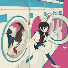 """The Woman of the launderette"" / illustration of the ""456"" [pixiv]"
