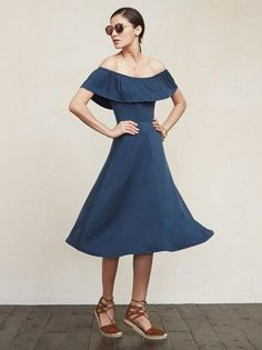 Oh, don't mind me I'm just the drapes. The Portofino Dress frames your shoulders nicely and kind of just falls perfectly on your body in general. https://www.thereformation.com/products/portofino-dress-mer?utm_source=pinterest&utm_medium=organic&utm_campaign=PinterestOwnedPins