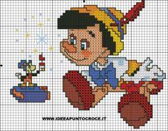 Pinocho cross stitch 2-2 Cross Stitch Baby Blanket, Cross Stitch Heart, Disney Stitch, Disney Cross Stitch Patterns, Cross Stitch Designs, Cross Stitching, Cross Stitch Embroidery, Stitch Cartoon, Crochet Disney