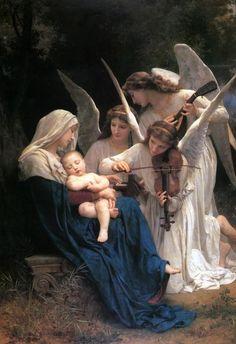 天使の絵画bot(@art_of_angel)さん | Twitter  ウィリアム・アドルフ・ブーグロー『歌を歌う天使たち』(1881)