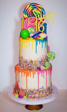 Candyland Birthday Cake Candy Colorful Cake Sweet Sixteen Lollipop Candyland Drip Cake Recipes and yummy cake tips Torta Candy, Candy Cakes, Cupcake Cakes, Candy Theme Cake, Lollipop Cake, Candy Birthday Cakes, Sweet 16 Birthday Cake, Colorful Birthday Cake, Candy Theme Birthday Party