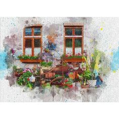 Watercolor Painting of Windows With Flowers and Plants - Wood Print Abstract Watercolor, Watercolor Paintings, Abstract Art, Framed Prints, Canvas Prints, Art Prints, Acrylic Wall Art, Clear Acrylic, Paint Strokes