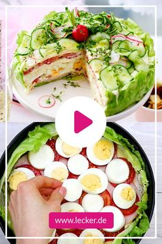 Salad cake - the two best recipes for party and buffet DELICIOUS - Ko . - Salad cake – the two best recipes for party and buffet DELICIOUS – Cooking Videos and Baking Vi - Easy Salad Recipes, Easy Salads, Brunch Recipes, Seafood Recipes, Party Recipes, Delicious Recipes, Cottage Cheese Salad, Salad Cake, Comida Keto