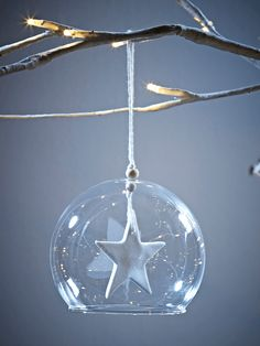 The perfect gift for a treasured friend or family member, our delicate glass bauble features and intricately crafted porcelein star suspended in a fine glass dome. Hung on a simple white organza loop, each decoration comes in a special presentation box.