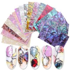 Pcs Nail Art Filler Shell Adhesive Sticker Manicure Ornament D Happy New Year Polygel Nails, Gem Nails, Foil Nails, 3d Nail Art, Nail Art Tools, Acrylic Nail Tips, Mermaid Nails, Nail Patterns, Diy Manicure