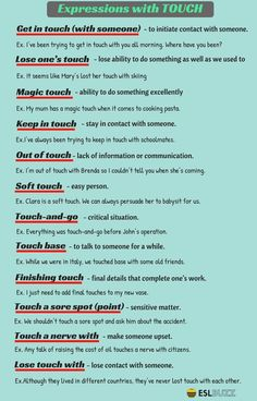 "Common Expressions with the Word ""Touch"" in English - ESL Buzz expressions anglaises English Grammar Rules, Teaching English Grammar, English Writing Skills, English Vocabulary Words, Learn English Words, English Idioms, English Phrases, English Language Learning, Vocabulary List"