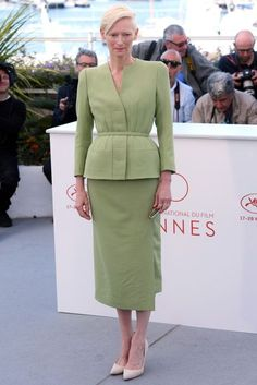 Cannes Film Festival 2017 | Tilda Swinton teamed her green Haider Ackermann ensemble with Repossi jewellery.