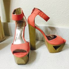 Very high heel High heel with ankle strap. Salmon color. *No trades* Shoes Heels