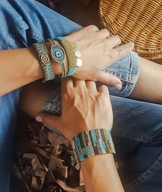 brown and blue macrame bracelets, eye bracelet, summer bracelets