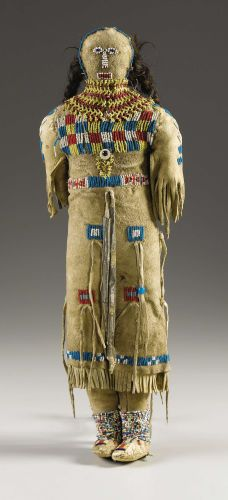American Indian Art:Beadwork, A PLAINS BEADED HIDE FEMALE DOLL. . c. 1890. ...