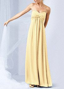 Glamour meets comfort in this dazzling long chiffon dress. Strapless bodice features eye-catching beading along the sweetheart neckline. Twist-front bust is flattering and unique. Empire waist creates an elongated silhouette. Sheer Chiffon catches the light beautifully for a truly radiant look. Fully lined. Back zip. Imported polyester. Dry clean only. Available in our exclusive 42 color palette. Available in sizes 2-30 and in extra length in stores. *Note: Tulle shown in picture is not part…