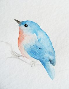 Tiny Blue and Orange Bird - cute little robin would make a great little tattoo