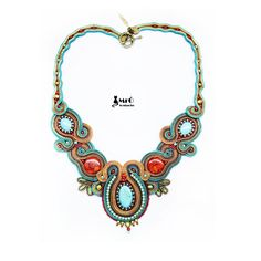Amiya unique soutache necklace bead embroidery by MrOsOutache