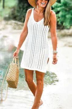 U Neck Sleeveless Slit Mini Cover Up – Chicmony Summer Kimono, Summer Cardigan, Ripped Shorts, Denim Romper, Cute Bathing Suits, Floor Length Dresses, Slit Dress, Color Khaki, Flare Pants