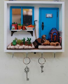 Love the key holder / shadow box combo, maybe ticket stubs or to do lists inside the box? Old keys? Key chain collection? Hmmm love the possibilities :)
