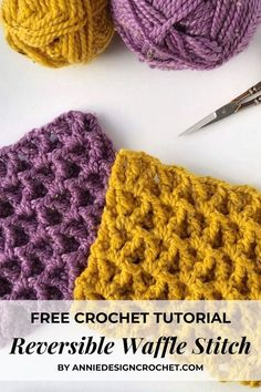 The V-Stitch Waffle crochet stitch is a fun, textured pattern that is reversible and super thick! Quick Crochet Patterns, Crochet Stitches For Beginners, Crochet Designs, Crochet Tutorials, Free Crochet, Knitting Patterns, Knit Stitches, Crochet Afghans, Crochet Granny