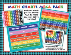 Sure, there are plenty of FREE Math Charts here and on other on-line sites. BUT ... This one is not like any you have seen! The vibrant colors used in the columns will show your students the patterns in a way that is unique and fun!