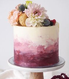 A pretty coconut cake layered with lemon curd and vanilla bean buttercream for a ninetieth birthday celebration! 🌸 Cake topper by… brush stroke and floral cake design Love the cake. Gorgeous Cakes, Pretty Cakes, Cute Cakes, Amazing Cakes, Watercolor Cake, Simple Watercolor, Tattoo Watercolor, Watercolor Trees, Watercolor Animals