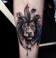 Animal Tattoo Designs – Watercolor lion tattoo by Aleksandra Kozubska… Leo Tattoos, Future Tattoos, Animal Tattoos, Body Art Tattoos, Tattoos For Guys, Sleeve Tattoos, Tatoos, Small Tattoos, Tattoo Artwork