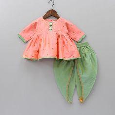 Pre Order: Peach Kurta With Green Dhoti Set Baby Girl Dress Design, Girls Frock Design, Baby Girl Dress Patterns, Baby Girl Party Dresses, Little Girl Dresses, Girls Dresses, Kids Blouse Designs, Dress Designs, Kids Lehenga