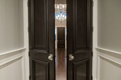 Hallway Doors. I love privacy doors! Could have front door with hall with living room to right and dining to left and kitchen at the back of the house next to the stairs.