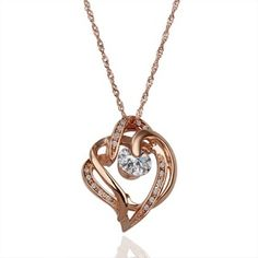 Rose Gold Plated Intertwined Hearts Necklace