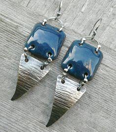 Dangle Drop Earrings Sterling Silver Blue Enamel on by LjBjewelry