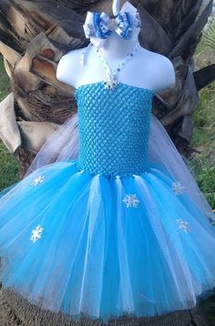Princess Elsa Inspired Frozen Tutu Dress (White long sleeved shirt underneath for halloween costume. Longer tulle)