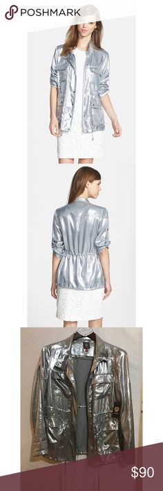 BNWT 🔥 Vince Camuto Silver Liquid Vince Camuto - 'Silver Liquid' Four Pocket Anorak  BRAND NEW! Size Small it's a pure fashion statement....... Vince Camuto Jackets & Coats