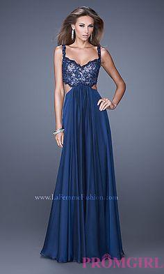 V-Neck La Femme Prom Dress with Open Back at PromGirl.com