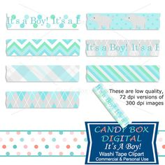 It's A Boy Washi Tape Clipart for baby by Candy Box Digital. Great for digital scrapbooks, journals and to highlight your pictures on blogs or websites.