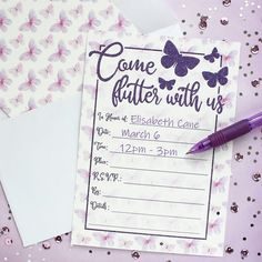 Time to party! Celebrate birthdays with a fun, enchanted Butterfly Theme. Get your guests ready to flutter with these adorable party invitations! #butterfly #birthday #happybirthday #girlparty Butterfly 1st Birthday, Butterfly Party, Purple Butterfly, Butterfly Invitations, Laser Cut Wedding Invitations, Birthday Party Invitations, 10th Birthday Parties, Birthday Party Themes, 2nd Birthday