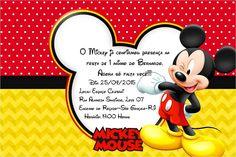Convite Mickey 14X9 cm. <br>Impresso em papel fotográfico brilhante. <br>Todos os temas. <br>Me enviando a foto, faço a arte e envio por e-mail para aprovação.