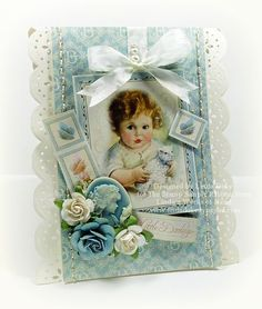 This precious baby card was made by Linda for The Stamp Simply Ribbon Store using product by Graphic 45, Spellbinders, Prima and May Arts.
