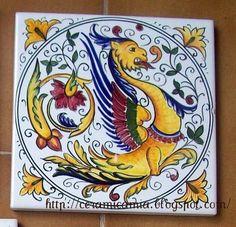 Piastrelle di #ceramica decorate a mano #Italy http://ceramicamia.blogspot.it/2011/11/piastrelle-di-ceramica-decorate-mano.html#