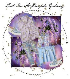 """""""Lost In A Purple Galaxy"""" by onesweetthing on Polyvore featuring art"""