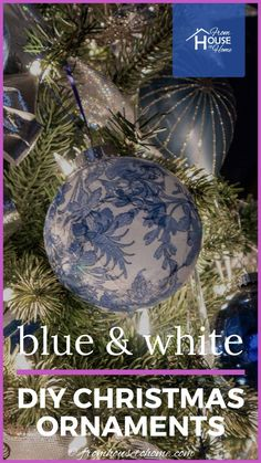 These blue and white Chinoiserie DIY Christmas ornaments are gorgeous! They're so easy to make and look beautiful with my blue and white Christmas tree. #fromhousetohome #christmastree #christmas #blueandwhite #diychristmas #bluechristmasdecor Blue Christmas Decor, Christmas Decorations For The Home, Diy Christmas Ornaments, Christmas Bulbs, White Christmas, Glass Ornaments, Haunted House Decorations, Beautiful Christmas Trees, Chinoiserie