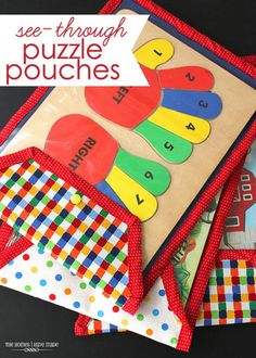 store flat wooden puzzles in these easy-sew clear puzzle pouches! - full tutorial! DIY crafts idea