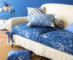 DIY slipcover with fabric remnants. I wanna do something like this in our game room with mixed-and-matched fabrics.