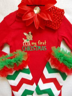 My First Christmas outfit baby girl dress up leg warmers red first chevron fall onesie shirt top headband bow size newborn 0 - 3 6 9 months