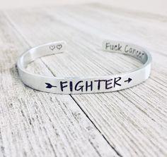 Cuff Bracelet Cancer Jewelry Handstamped Jewelry Cancer Bracelet F*ck Cancer Cancer Sucks MATURE Fuck Cancer Bracelet Sterling Cuff