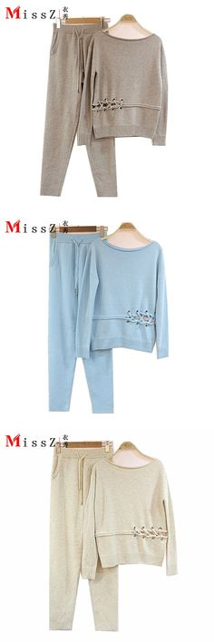 Tracksuits New Arrival Real 2017 Women's Cashmere Suit Round Collar Knit Sweater + Casual Pants Fashion Two Pieces Of Women