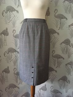 Vintage 80s checked Pencil Skirt, Retro high waisted Wiggle Skirt, Psychobilly, Rockabilly, Punk, Pin Up, pockets by TheVintageFlea29 on Etsy