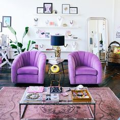 lavender chairs and mauve rug