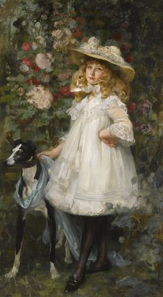 James Jebusa Shannon 1862 - 1923 - Portrait of a Girl Glasgow Museum, Amor Animal, Greyhound Art, Victorian Art, Dog Art, Beautiful Paintings, American Artists, Retro, Photo Art