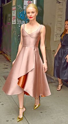 Kate Bosworth from The Big Picture: Today's Hot Pics  Good as (rose) gold! Dressed in head-to-toe metallic hues, the actress steps out in New York to attend an Allergan event.