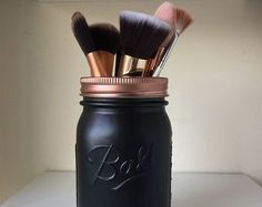 Black and Rose Gold Mason Jar || Makeup brush holder