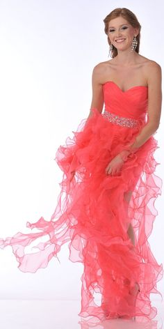 CLEARANCE - Watermelon Prom Dress Hi Low Strapless Ruffle Layers
