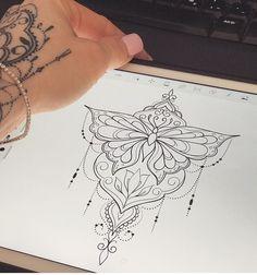 67 Trendy Ideas For Tattoo Butterfly Mandala Ideas Mandala Tattoo – Top Fashion Tattoos Pfau Tattoo, Lotusblume Tattoo, Unalome Tattoo, Tattoo Trend, Lace Tattoo, Piercing Tattoo, Leg Tattoos, Tattoo Drawings, Body Art Tattoos